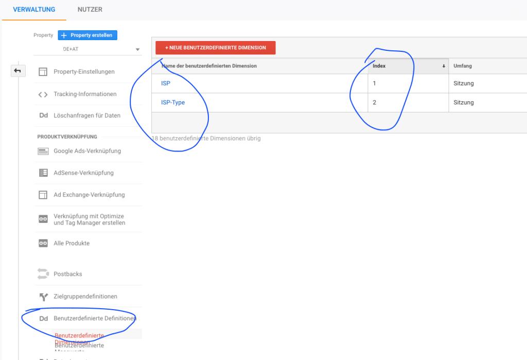 Google Analytics Benutzerdefinierte Dimensionen für ISP Daten