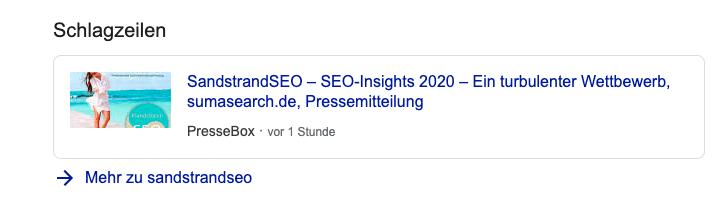 SandstrandSEO Google News Meldung